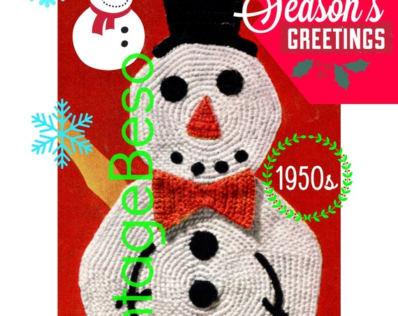 Snowman Potholder Crochet Pattern • 1950s Classic Christmas • Crochet Christmas • PDF Pattern • DIGITAL PATTERN • Instant Download