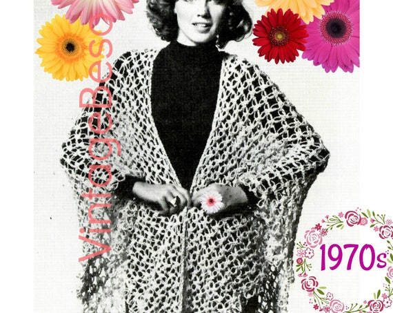 EASY Shawl CROCHET Pattern 1970s Vintage Knot Stitch w Knot Stitch GUIDE for beginners VintageBeso Instant Download Pdf Pattern