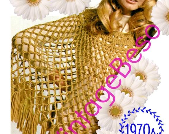 Poncho Crochet Pattern • Vintage 1970s • Instant Download • PDF Pattern • Digital Download