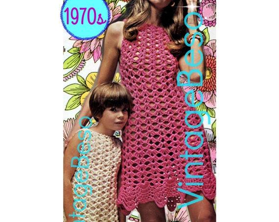 Dress CROCHET Pattern • Seashell Border • 1970s Vintage Crochet Pattern Beach Coverup Sexy Dress Vixen Wear • Watermarked PDF Only