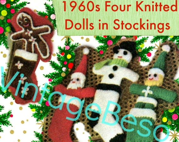 Toy and Stocking Pattern • Gingerbread Boy Santa Snowman Elf • Christmas Stocking KNITTING Pattern • Vintage 1960s • Instant Download • PDF