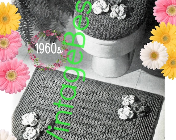 Rug Crochet Pattern + Lid Cover Crochet Pattern • Retro 1960s Bathroom Set • Toilet Seat Lid Cover Rug Pattern • Watermarked PDF Only