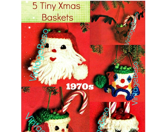 CHRISTMAS Basket Crochet Patterns  • 1970s Gift Basket • Holiday • Tree Christmas Ornaments & Gift Wrapping Decorations • PDF Pattern