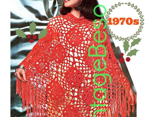 Instant Download • Christmas Shawl Crochet PATTERN • Vintage 1970s • Xmas Shawl Fringe • PDF Pattern • Digital Download