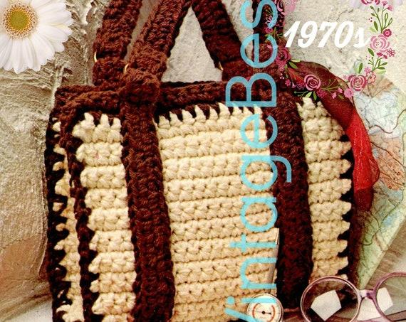 EASY Bag Crochet Pattern • 1970s Vintage Bag • Classic Bag with Strap • Handbag • PDF • Retro Fun Tote • Instant Download • Digital Download