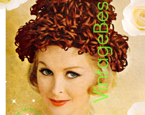 Hat Crochet Pattern • 1960s Pouf Topped Cloche Crochet Pattern • Ribbon Hat • Fun and Feminine • INSTANT Download • PDF Pattern