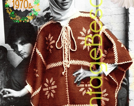 Snowflake Poncho Crochet Patterns • INSTANT • PDF • Vintage 1970s Crochet Poncho • Digital Download • Afghan Stitch • Tunisian • Boho