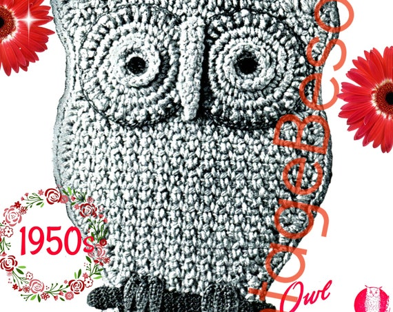 Owl Crochet Potholder • INSTANT Download • PdF Pattern • Vintage Crochet Pattern • Kitchen Decoration • Crochet Potholder • Owl on Perch