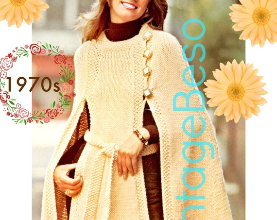 Panel Cape KNITTING Pattern • Belted Cape Knitting Pattern • Vintage Knitting Pattern • Comfortable Scoop Neckband • Watermarked PDF Only