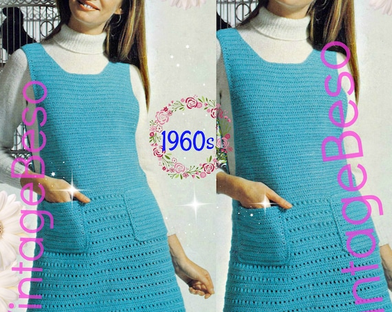 Dress Crochet Pattern • Pinafore Dress • Vintage 1960s • Summer Sleeveless Pocketed Jumper • UK Crochet Terms • Watermarked PDF Only