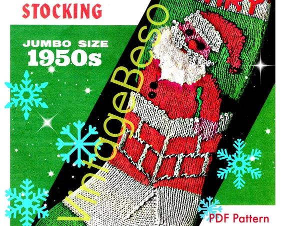 Classic Christmas Knitting Pattern • STOCKING Pattern • Bucilla #7678 • PdF Pattern • 1950s Vintage Knit Pattern • Retro Christmas Stocking