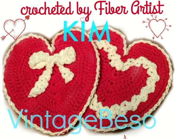 Heart Potholder Crochet Pattern • 1940s Crochet Pattern • Pattern Used by Bomb Girls in 40s bow Love • Valentines Day • Watermarked PDF Only