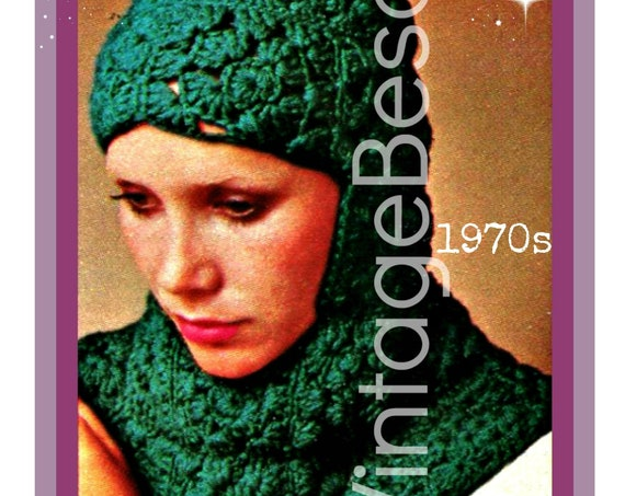 Helmet CROCHET Pattern • Vintage 1970s Lovely Granny Square Hooded Head Cover • Hat Easy and Quick for Gift or Sell • Watermarked PDF Only