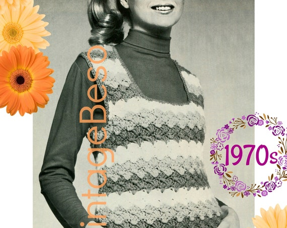 Top Crochet Pattern • Ladies Striped Pullover Crochet Pattern • Shell Stitch • Pullover • Vintage 1970s Top • Watermarked PDF Only