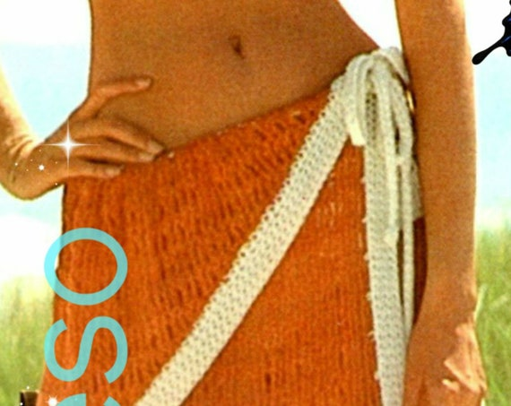 Sexy Sarong CROCHET Pattern • Retro 1970s Ladies Wrap Skirt • Vintage • Watermarked PDF Only