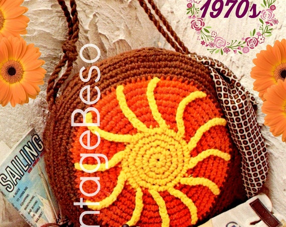 Sun Rays Bag Crochet Pattern • 1970s Vintage Bag • Sunburst with Strap • Handbag • Easy • Retro Fun Tote • Watermarked PDF Only