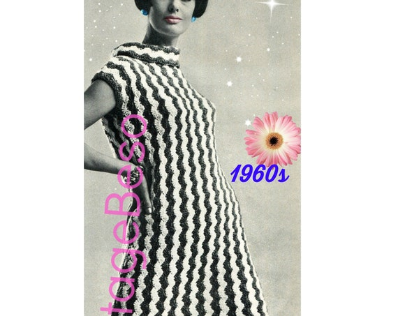 EASY Dress CROCHET PATTERN • 1960s Retro Ladies Shell Shift Crochet Pattern • Stripe Dress • Vacation Dress • Instant Download • PdF Pattern