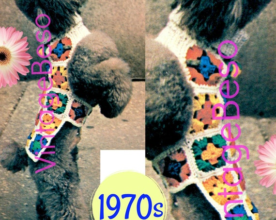 Dog Coat Crochet Pattern • Cable Collar • Vintage 1970s Granny Square Jacket • Sweater Pattern • Puppy Coat • Instant Download • PDF Pattern