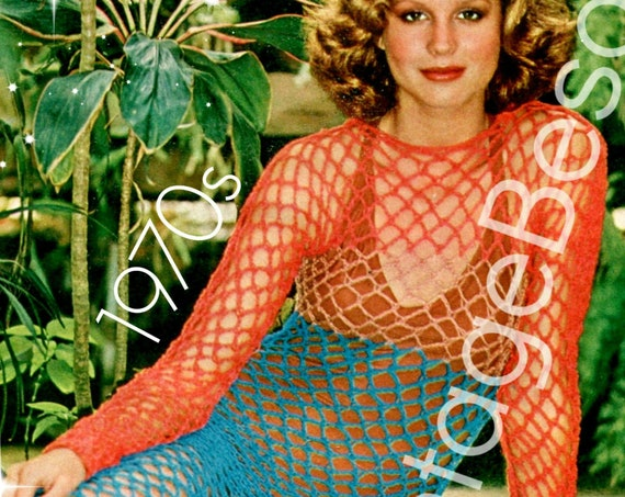 Maxi Dress Crochet PATTERN • Sexy Fishnet Beach Dress • Vintage 70s • CoverUp • Bikini CoverUp Crochet Pattern • Watermarked PDF Only