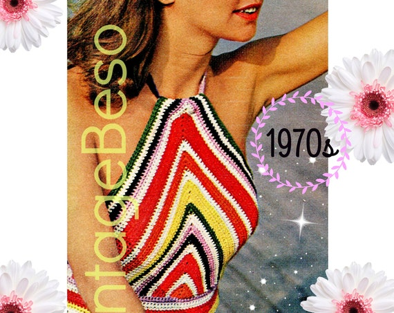 Top Crochet Pattern • Vintage 1970s Rainbow Halter Crochet Pattern • A FAST CROCHET Work • Chevron Striped Boho Top • Watermarked PDF Only