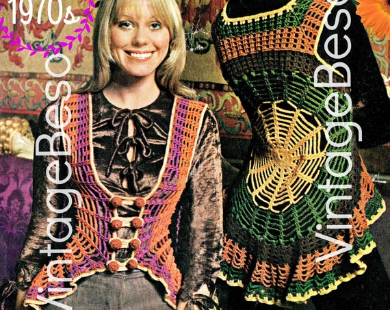 Boho Web Vest Crochet Pattern • Vintage 1970s Ladies Vest • Fits Bust 32 to 34 and 36 to 38 • Sexy Hippie Pattern • Watermarked PDF Only