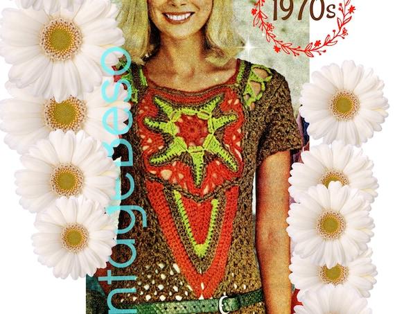 Boho Top Crochet Pattern • PDF PATTERN • Ladies Boho Starfish Sweater • 1970s Vintage 100% Boho Beauty • Feminine • Hippie Chic Lady