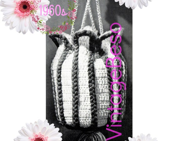 Beach Bag Crochet Pattern • Fun Tulip Bag • Instant Download • 1960s Bag also Doubles as Diaper Bag • Watermarked PDF Only