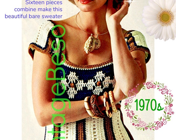 Top Crochet Pattern • 1970s Daisy Top • Ladies Summer Wear • Motif Style • Crochet Pieces then Sew in One Evening • Watermarked PDF Only