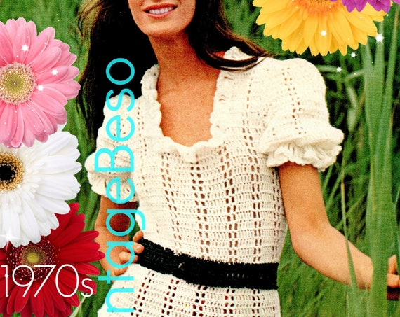 Top Crochet Pattern • Vintage 1970s Puff Sleeve Blouse Crochet Pattern • Romantic Summer Feminine Top Bohemian Beauty • Watermarked PDF Only