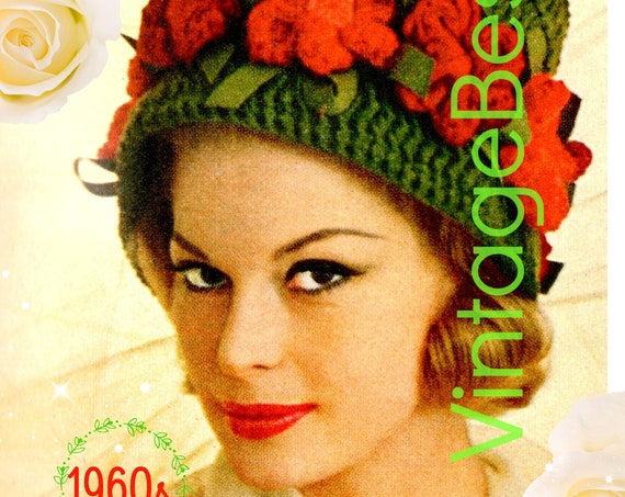 Hat Crochet Pattern • 1960s Flower Trimmed Cloche Crochet Pattern • Roses Patterned Hat • Fun and Feminine Flower Hat • Watermarked PDF Only