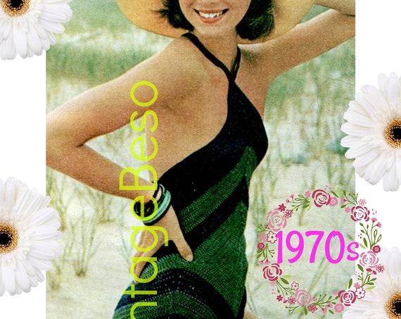 Swimsuit Crochet Pattern • Retro 1970s Diamond Bathing Suit • Vintage Maillot Crochet Pattern • INSTANT Download • PdF Pattern • Digital