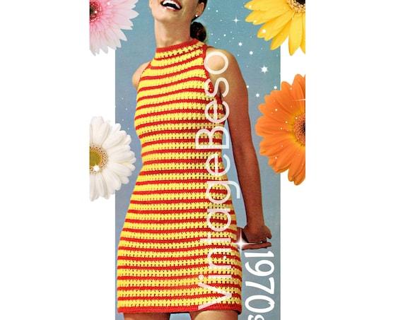 Ladies Dress CROCHET Pattern • Sunlight Stripes • Summer Dress Pattern • Fun Sexy Sleeveless Halter • Vintage 1970s • Watermarked PDF Only