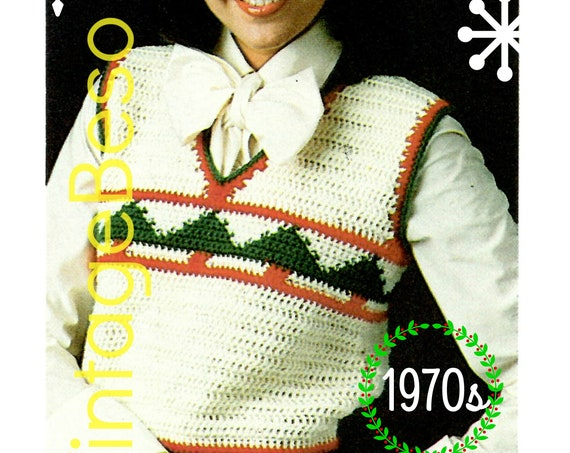 Vest Crochet Pattern • Christmas Trees • Vintage 1970s CROCHET Pattern • Completed Mostly in DC and Trees in SC • Digital Download