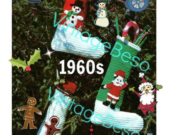 EASY Christmas Stocking • CROCHET Pattern • TRIO Set • Vintage 1960s • Santa Gingerbread Man Snowman Frosty • PdF Pattern • Instant Download