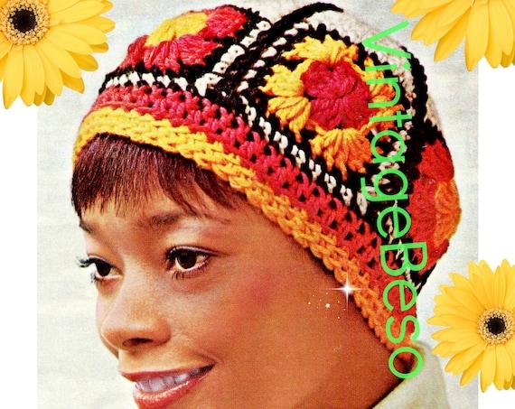 Hat Crochet Pattern • Vintage 1970s Granny Square Hat • Folk • Boho Cap • Colorful Gypsy Cap • Instant Download • PDF • Digital Pattern