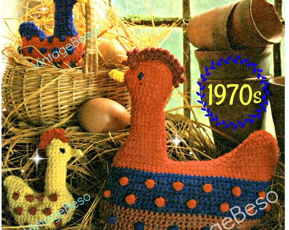 Hen and 2 Chicks CROCHET Pattern • PDF • 1970s Vintage Crochet Pattern • • Home Decor or Stuffed Toy Dolls or Door Stop • Direct from USA