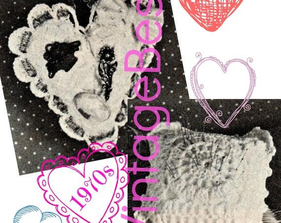 Heart Sachet and Square Cushion • Retro 1970s CROCHET Pattern • PDF Pattern • Vintage Valentine's Day • Digital Pattern • Home • Gift