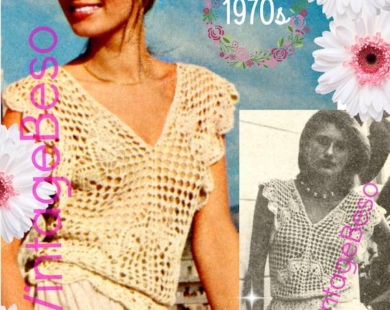 Top Crochet Pattern •  Vintage 1970s Top Crochet Pattern • Soft Ruffled Blouse • Sexy Romantic Diamond Top • Watermarked PDF Only