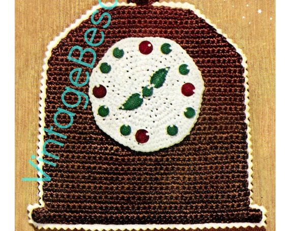 Digital Pattern • Potholder Crochet Pattern • Clock Potholders • Vintage 1950s • Tea Time • Kitchen • Fun Gift • Mantel Clock