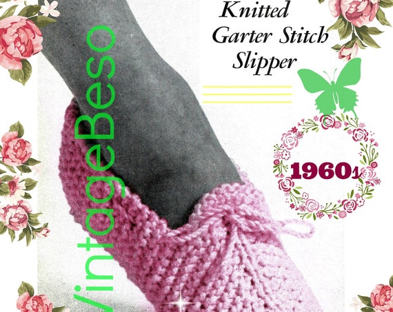 Slippers Knitting Pattern • Knitted Garter Stitch Slipper • 1960s Vintage • Woman's Slippers • Retro • Watermarked PDF Only