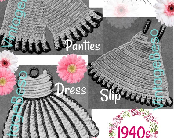 Digital Pattern • Potholder Crochet Pattern • Panties + Slip + Dress • Vintage Rosie the Riveter era 1940s • Wedding • Shower • Fun Gift