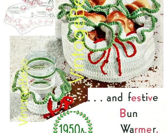 Bun Warmer + Glass Jacket Crochet Pattern • 1950s Crochet Pattern • Great for Christmas Thanksgiving Gathering • Digital Download • PDF