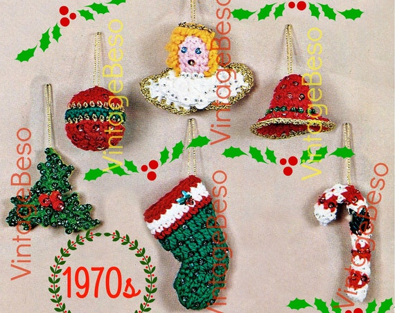 Christmas Ornament Crochet Pattern • Tree Ornament • Ball Mistletoe Stocking Candy Cane Angel Bell • Gift Decorations • Watermarked PDF Only