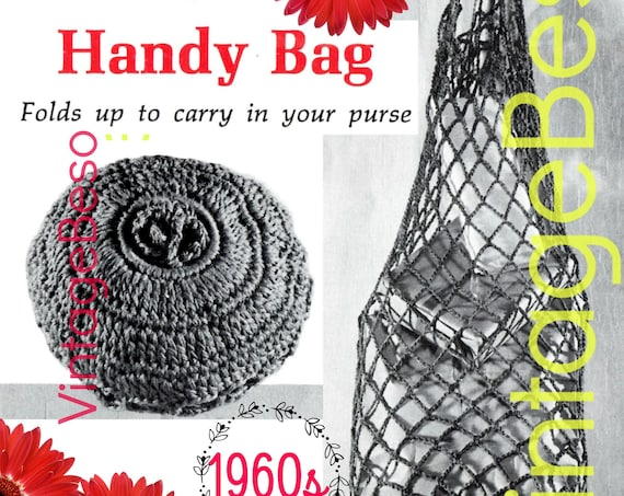 Handy Bag Crochet Pattern • 1960s Vintage Bag • Bag Folds Up to Stay Handy in your Purse • Retro Fun Tote • Watermarked PDF Only