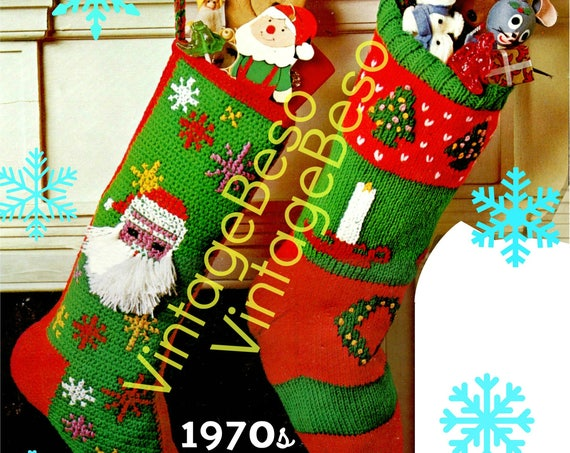 """Instant Download • 2 Patterns • """"Twas The Night Before Christmas"""" 1 CROCHET + 1 KNiT • Christmas STOCKING Patterns • Vintage 1970s • Classic"""