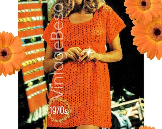 Dress CROCHET Pattern • Vintage 1970s Simple Smock Dress Crochet Pattern • Retro Ladies Summer Dress Pattern • Watermarked PDF Only