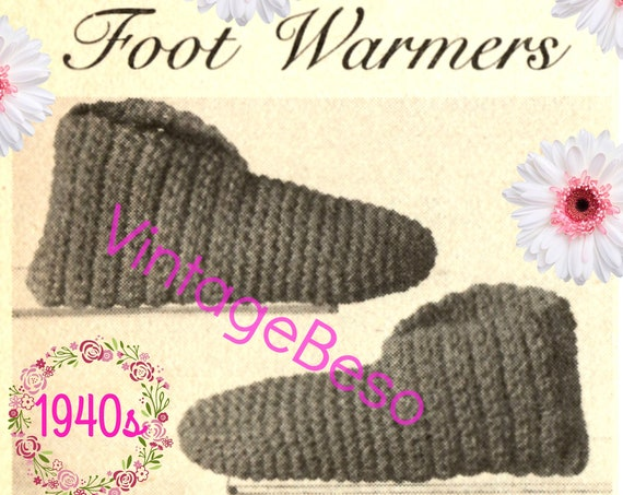 DIGITAL PATTERN • Slippers Crochet Pattern • 1940s CHILD Slippers • QUiCK to Make • Vintage Retro House Shoes • PdF Pattern • Foot Warmers