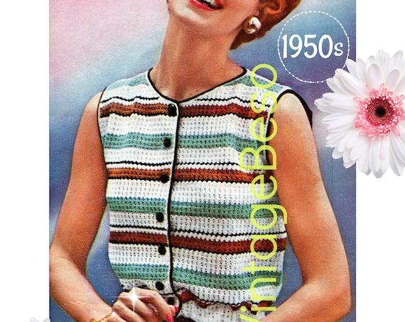 Top Crochet Pattern • 1950s Drawstring Top Crochet Pattern • Ladies Sleeveless Striped Blouse • Party Summer Wear • Watermarked PDF Only