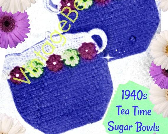 Digital Pattern • Potholder Crochet Pattern • Sugar Bowls Potholders • Vintage Rosie the Riveter era 1940s • Tea Time • Kitchen • Fun Gift