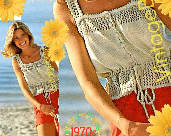 Top KNITTING Pattern • 1970s Camisole • Cotton Lace Camisole • Ladies Summer Wear • Summer Top • Sassy and Ladylike • Watermarked PDF Only